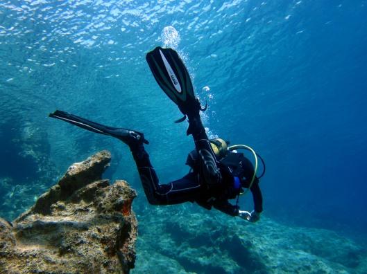 diving in crystal clear water Kas Turkey