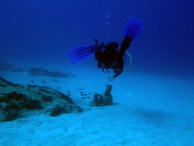 scuba diver underwater amphora Kas Turkey