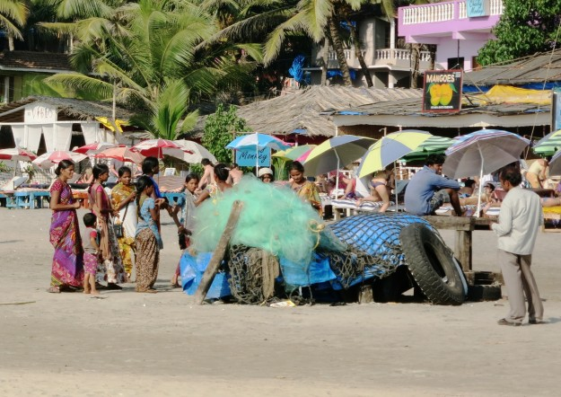 women in saree goa arambol beach