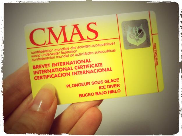 ice diving certification card CMAS