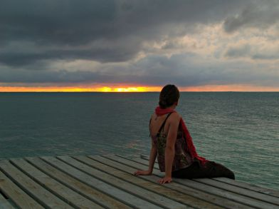 Florine waiting for the boat Caye Caulker Belize
