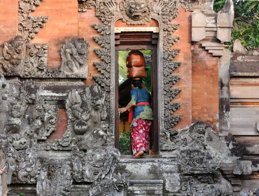 Balinese woman Hindu temple Ubud Bali