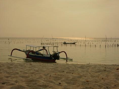 Boat on the beach Sunset Nusa Lembomgan Bali Indonesia