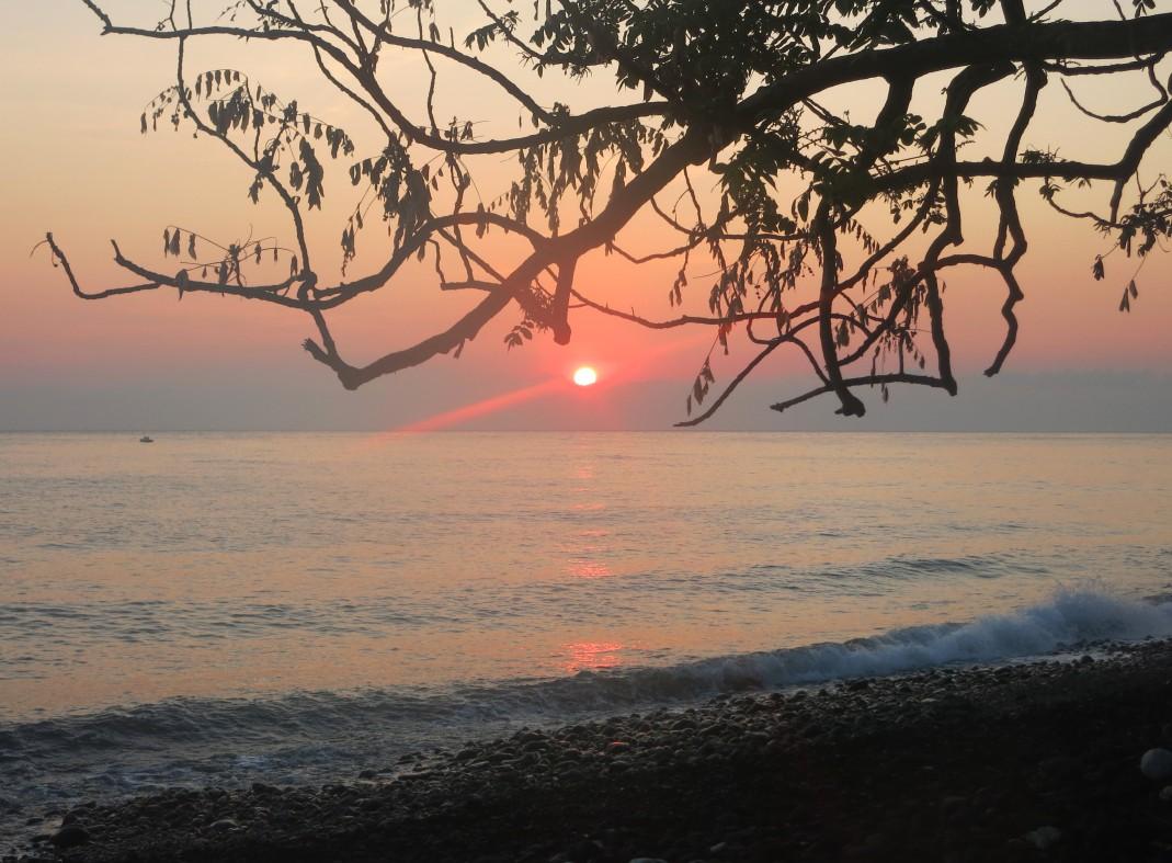 Sunrise Rinjani Volcano Tulamben beach Bali Indonesia