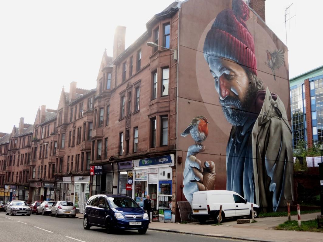 Street art mural high street Glasgow Scotland