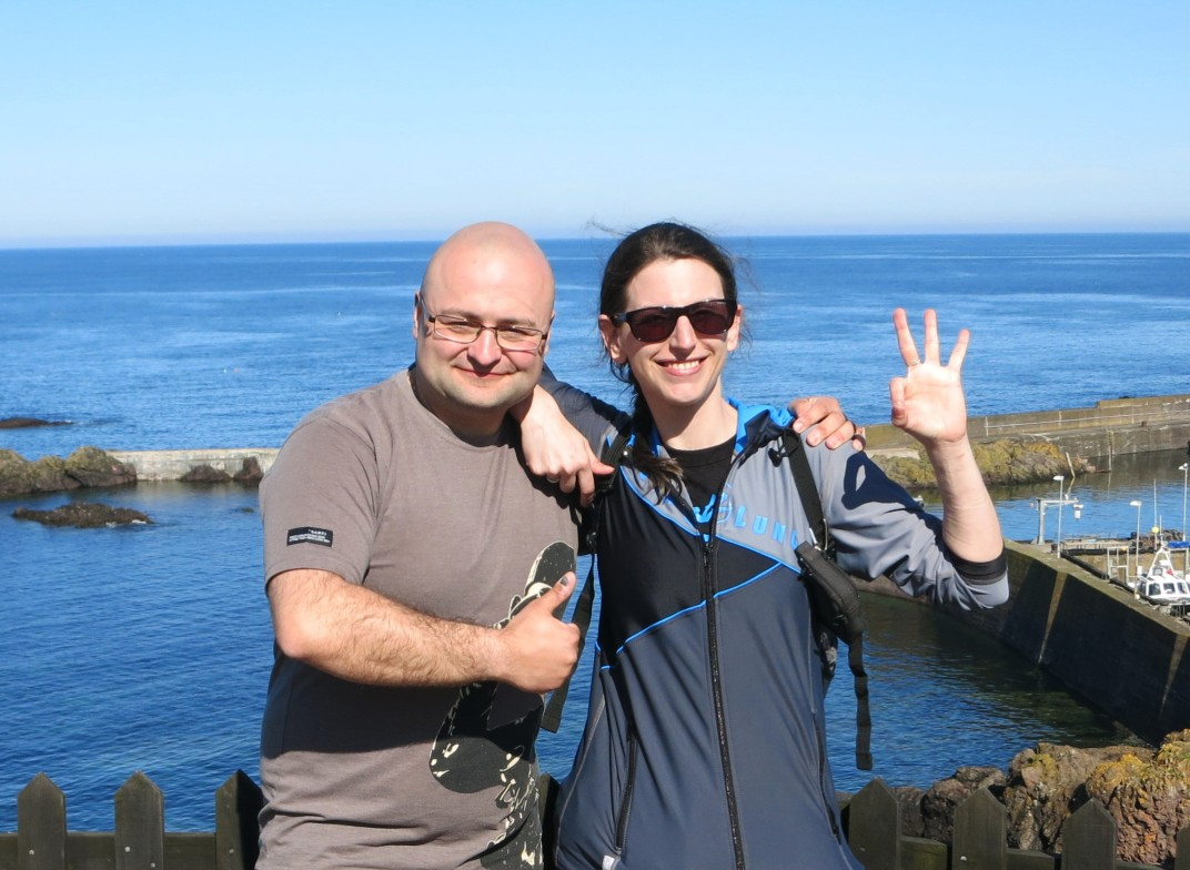 My buddy and I scuba divers in St. Abbs Scotland