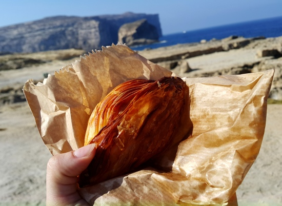 Pastizzi snack before diving the blue hole in Gozo Malta