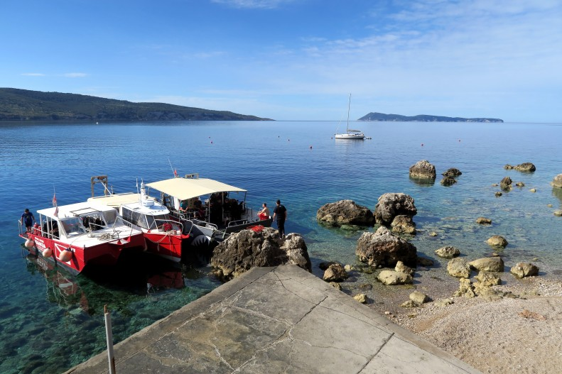 View of Bisevo Island from Diving centre in Komiza Vis Town in Vis Island Croatia