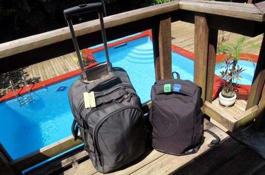 scuba diving suitcase and backpack - Mango Inn accomodation with Utila Dive Center