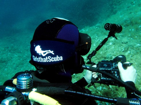 wearing my GirlsThatScuba mask strap on Womens Dive Day in the French Riviera