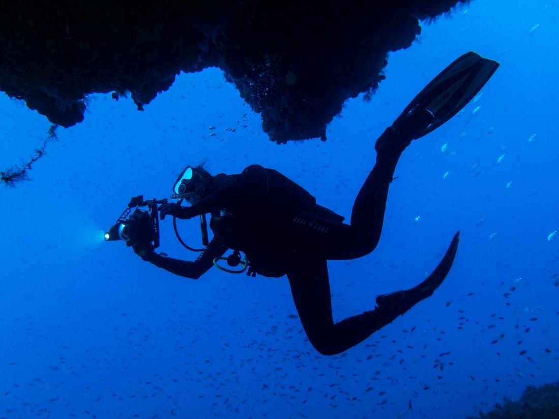 Scuba diving at the Gorgonian Gardens Alonissos Greece