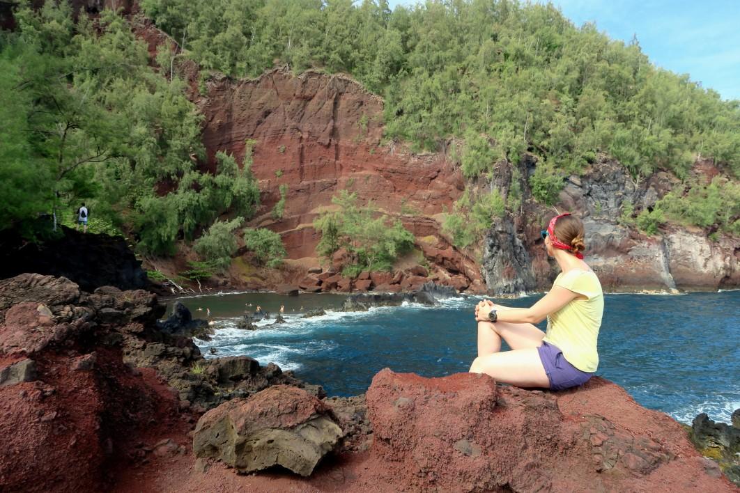 Red sand beach Road to Hana Maui Hawaii