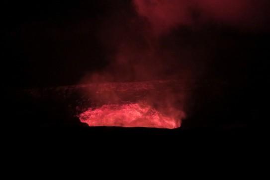 Kilauea Crater glowing at night Volcano National Park Big Island Hawaii