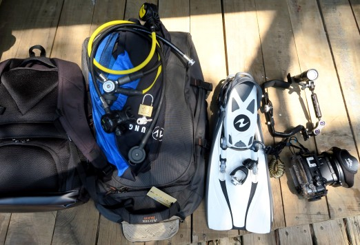 scuba diving gear in my hybrid backpack trolley case